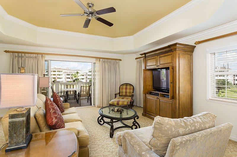 This extremely large living area provides ample space and seating for family gatherings