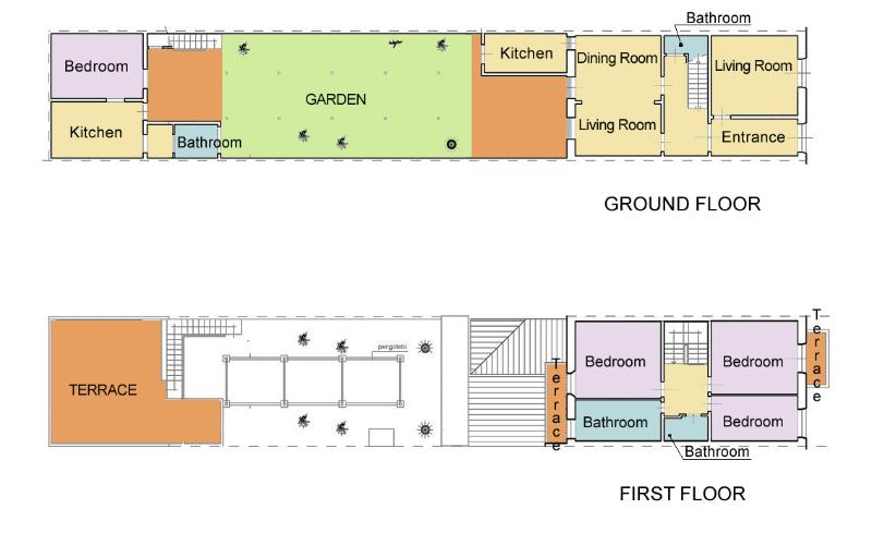 Layout of house, garden and apartment