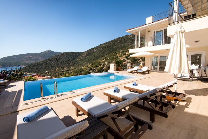 View from the terrace across the infinity pool and jacuzzi to the olive groves