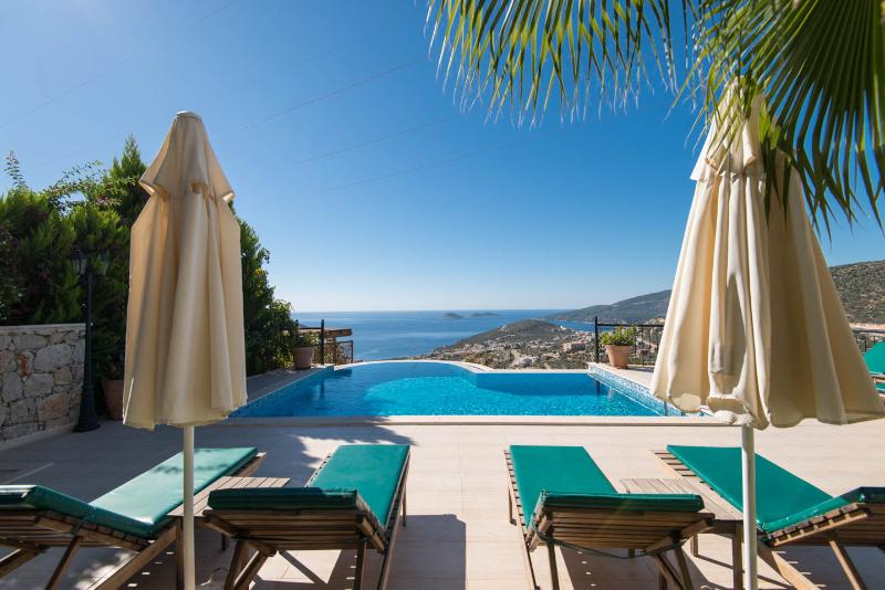 Sunbeds, infinity pool and view from Villa Iris