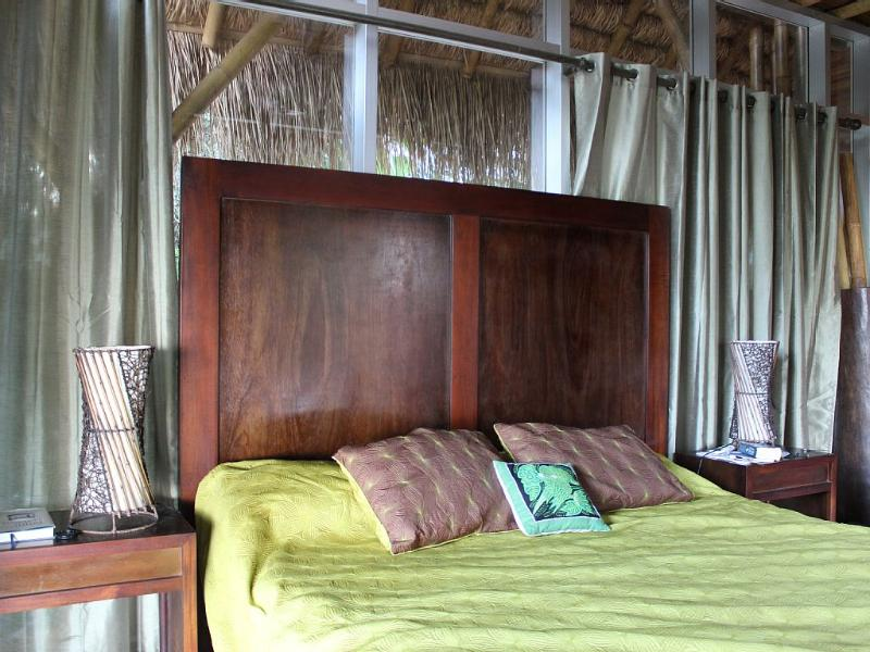 King sized Bed in the Master, this covered deck, room & bath is 800 square feet