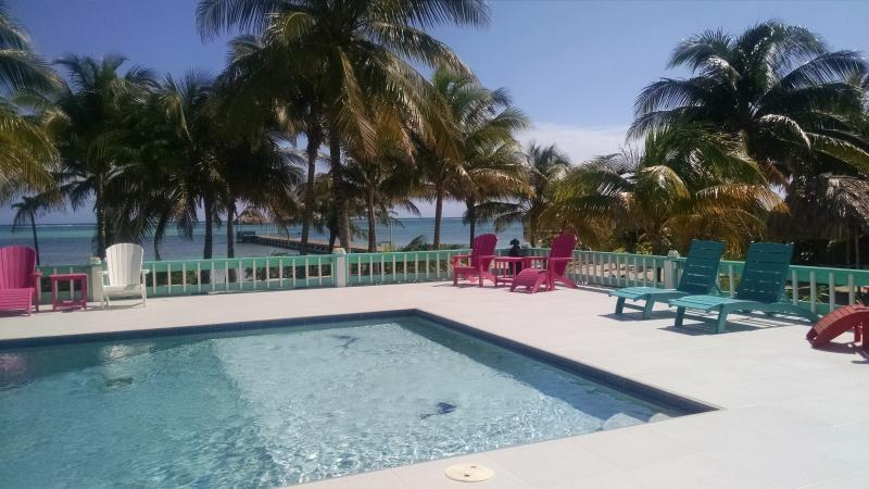 Private pool delights all ages!  Sugar and beach, right on the ocean, reef view with morning sunrise