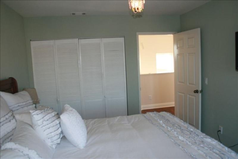 Large California King bed in Master Bedroom on third floor.