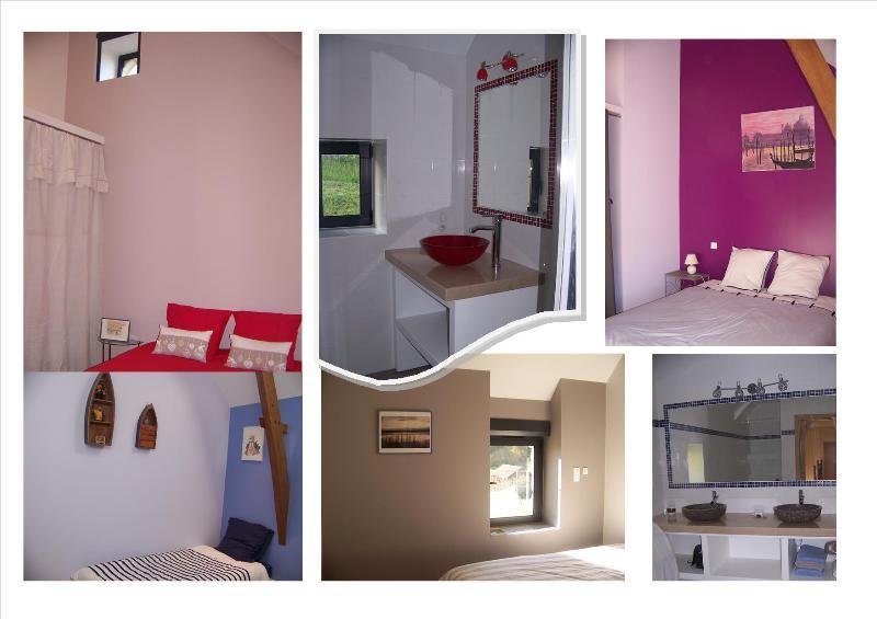 4 dormitorios, 2 baños y un aseo arriba.