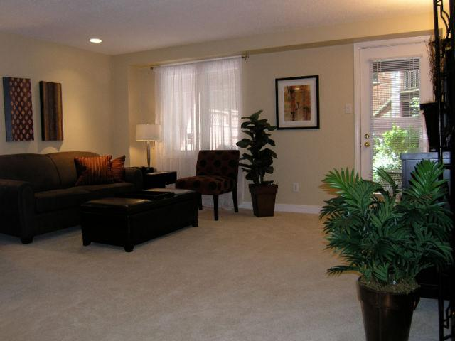 Spacious and bright living room with walk out to private garden and sitting area with BBQ