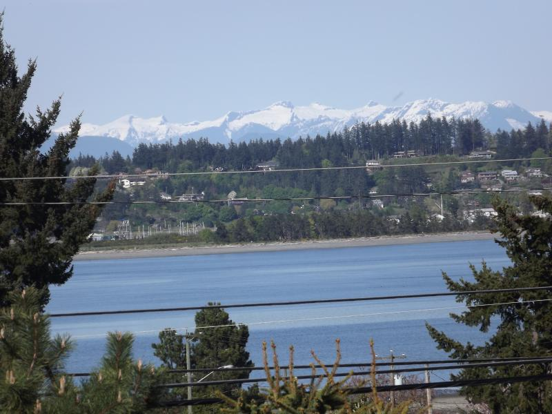 View from Eaglesview Living Room looking over the Ocean at Comox and the Coastal mountain Range