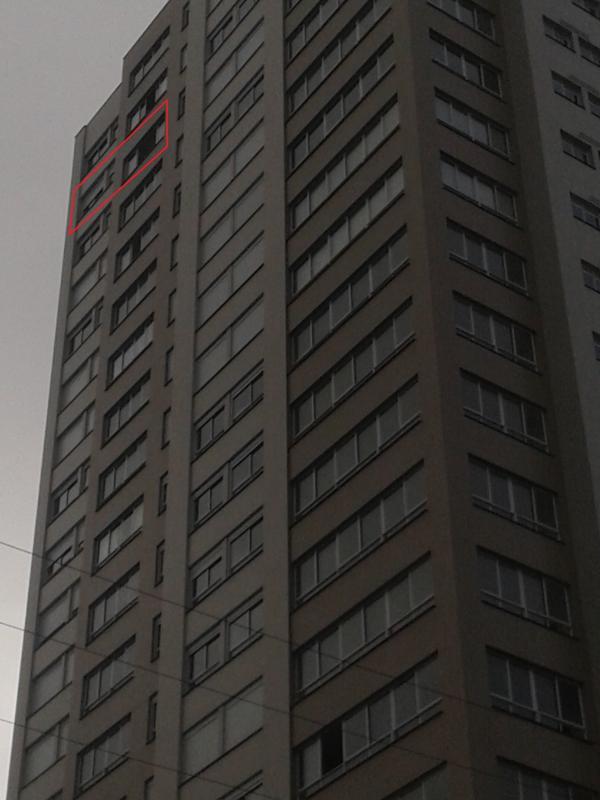 Localização na fachada - 20° andar sul
