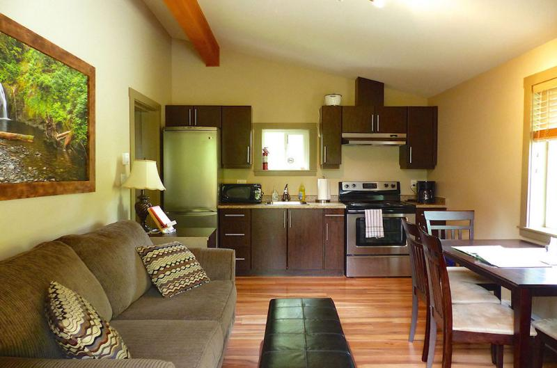 Fully equipped kitchen. Gas cooking stove. Sofa bed for extra sleeping space