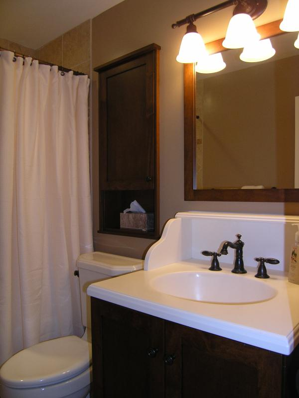 new 4 piece bathroom with soaker tub.