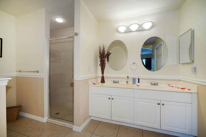 Master Bathroom with Dual Sinks and Walk In Shower