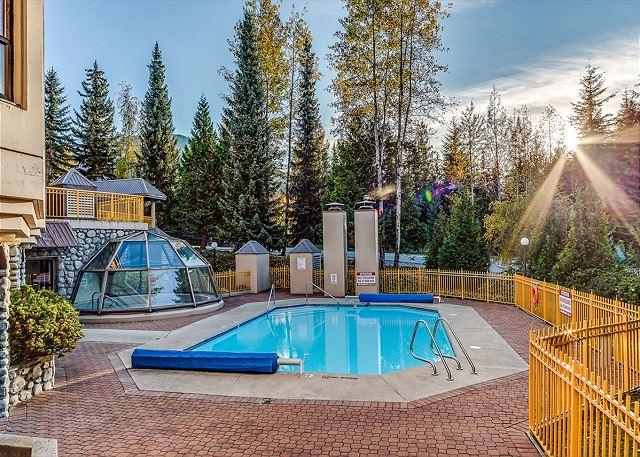 Outdoor Pool and Glass Enclosed Hot Tub