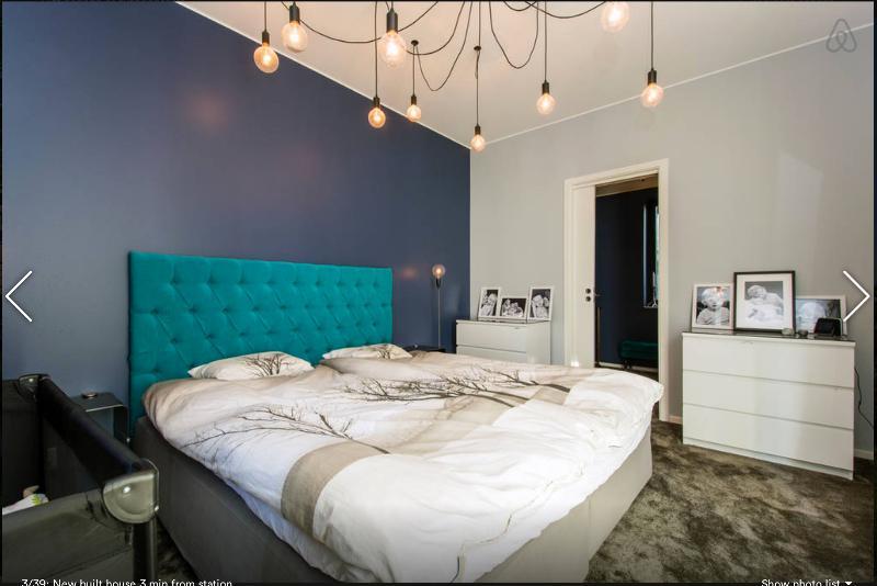 Master bedroom with terrace door to the garden. Kings size bed. Walk in closet. 1st floor.