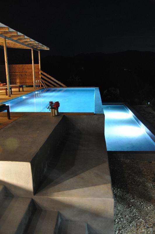 Pool lit at night