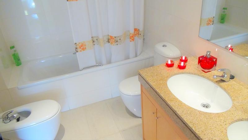 'Bathroom II': bath-tube/shower, bidet, hairy dryer, towels, shampoo