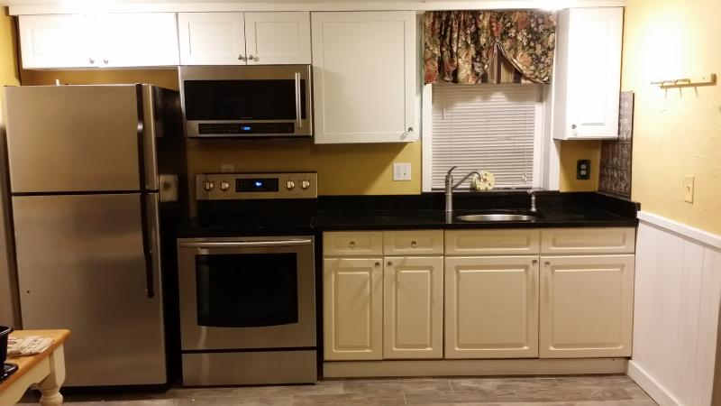 Hideaway 3 bedroom kitchen has Samsung Stainless Steel Appliances, smart mircrowave, and granite top