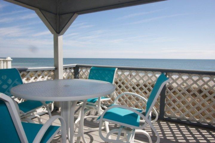 Enjoy great ocean front views from this covered deck.