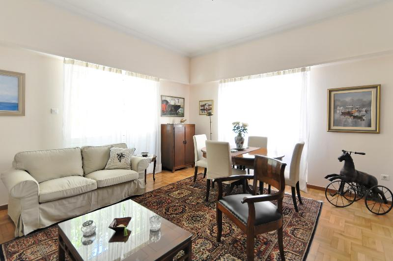 Our spacious living room where you can rest after your long Athens walks.