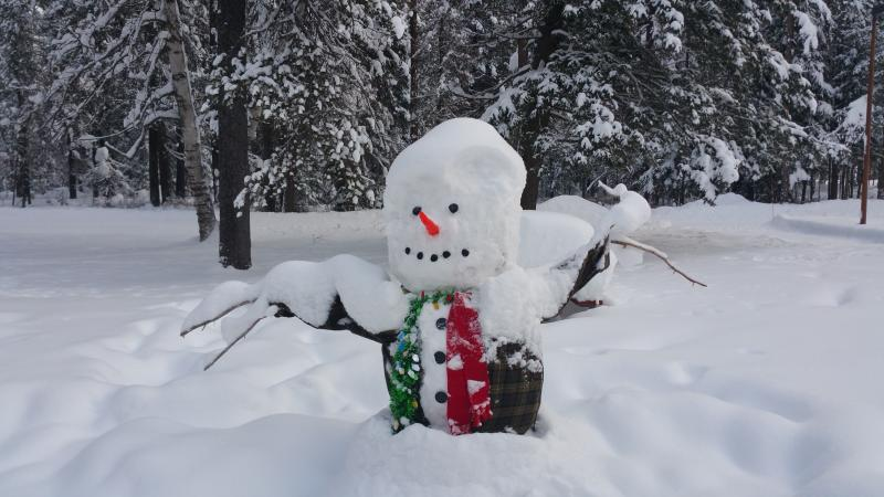 Snowball the snowman at glacier park headquarters