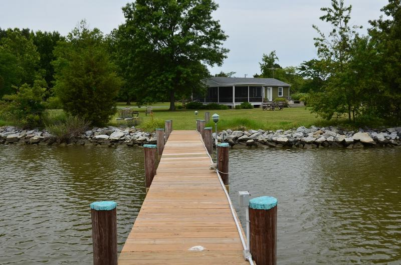 View of The Cottage from the end of the dock