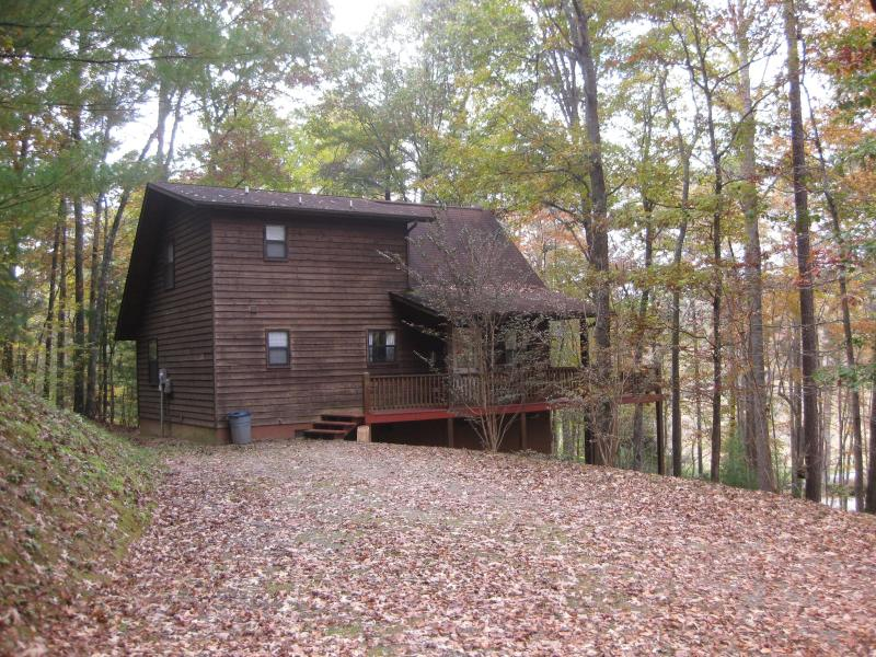 Side view of cabin.  Large driveway and a turnaround area off to the side.