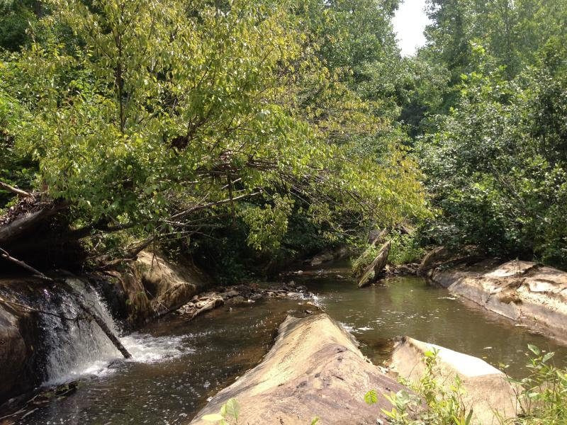 Waterfall and Green Creek borders most of property