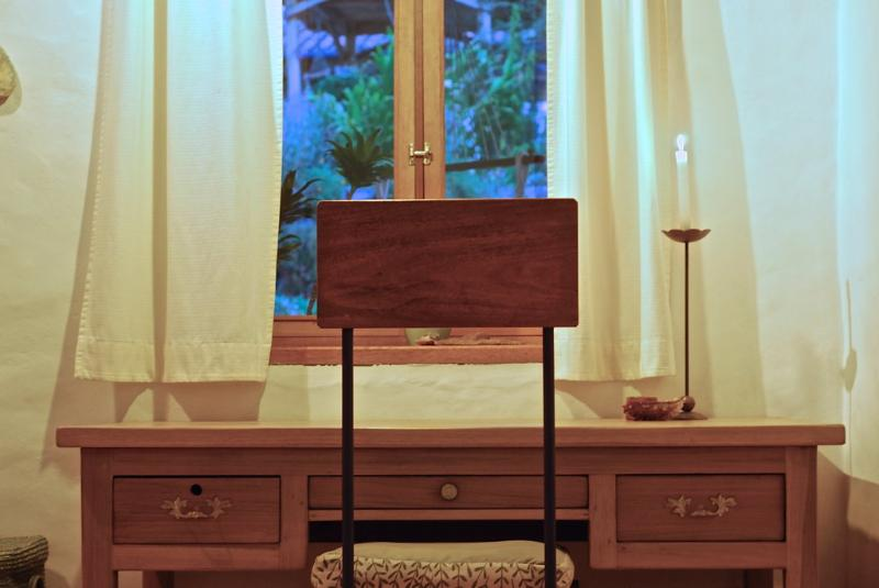 desk with view into the garden