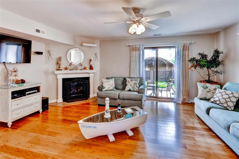 Gather with your companions in this sleekly furnished living room.