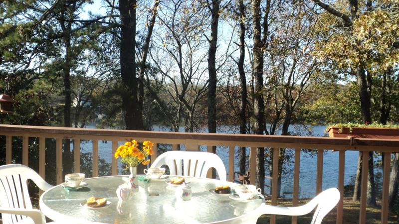 Tea table on our porch above the lake