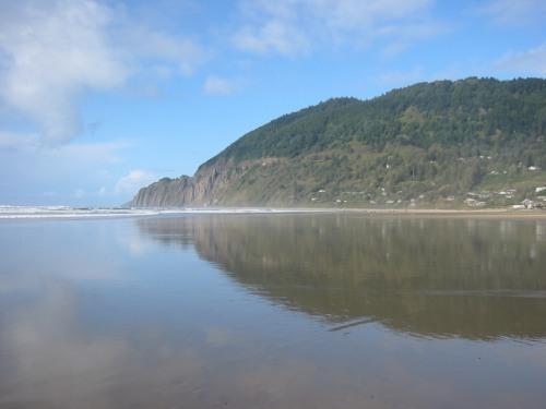 beach during low tide - reflection neahkahnie mt