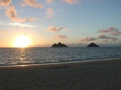 Mokulua Islands and white sands of Lanikai beach