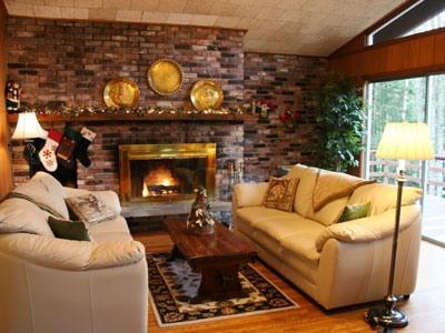 Living room w/fireplace & sliders to deck, flat screen TV w/DVR & DVD