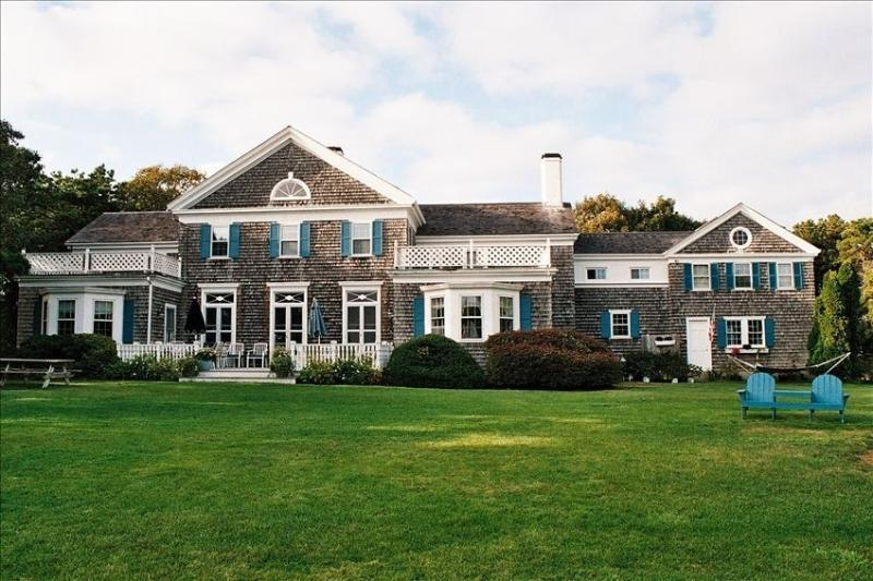 Overlooking Nantucket Sound and large lush lawns