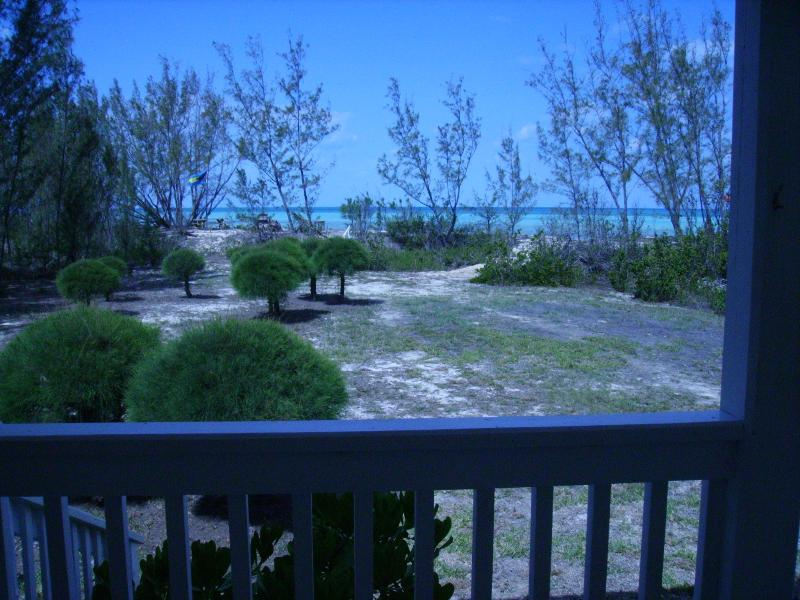 View of front garden with pathway to beach from beach side porch