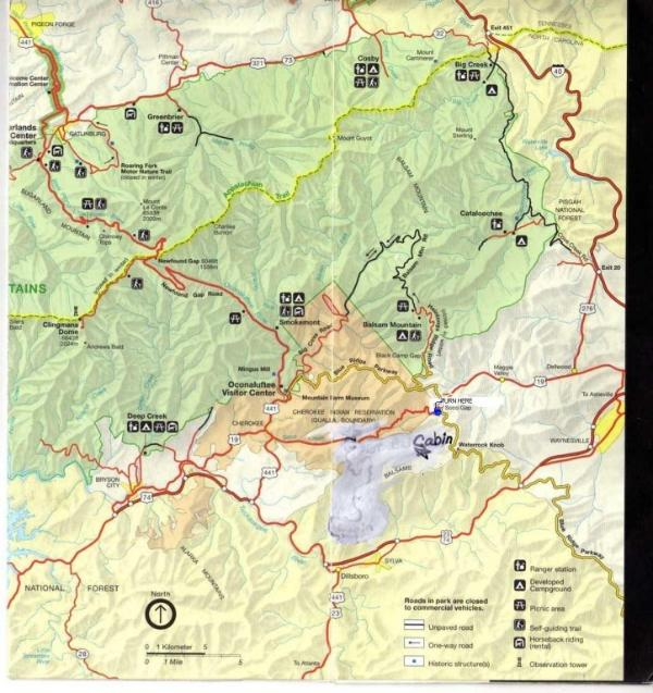 Location of Cabin Between Cherokee And Maggie Valley, NC
