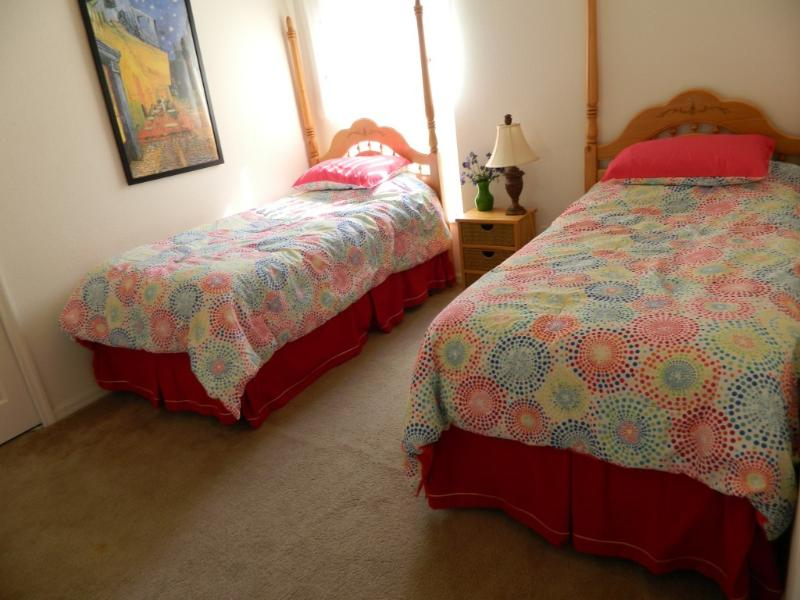 Twin Bed room with glowing in the dark comforters