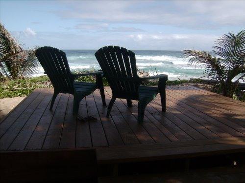 wooden deck with ocean view