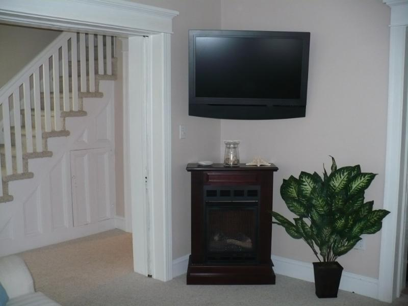 Living Room Flat Screen TV, DVD and Fireplace