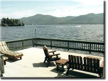 The deck overlooking the lake, Pilot Knob Mountain, and Hemlock Point..