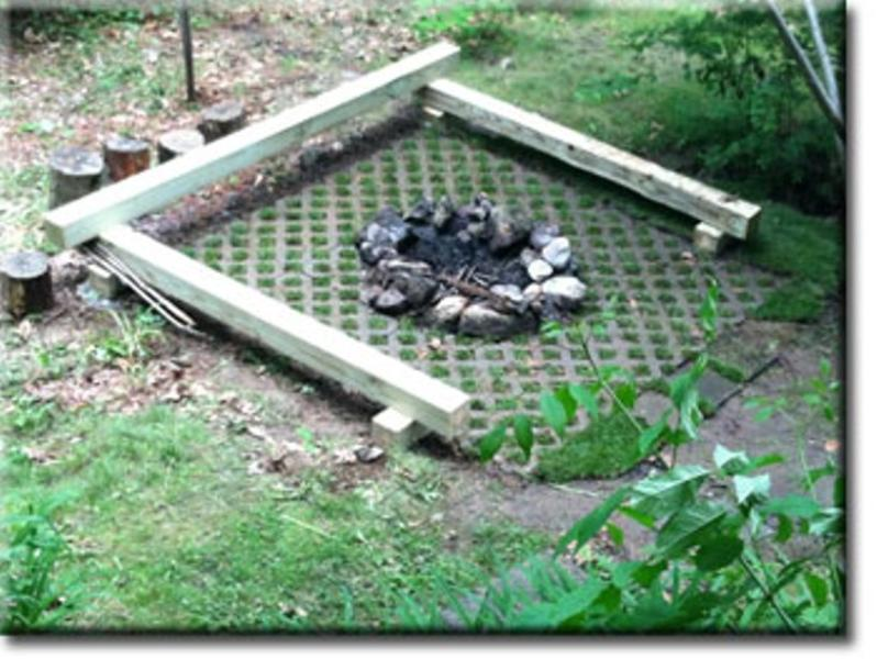 The fire pit with benches,and Turf Stone to prevent runoff to the lake.