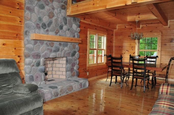 great room with stone fire place