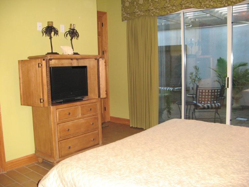 Master bedroom has private patio & hot tub access