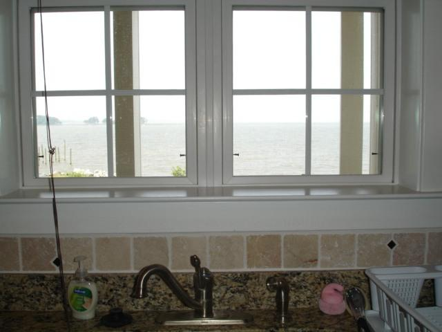kitchen with water front view