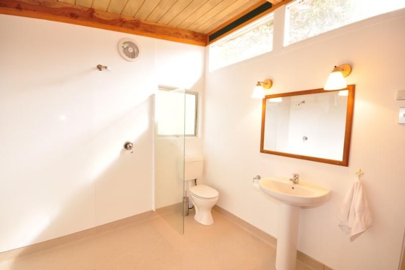 a large bathroom with gas fired dual showers, great for after a bike ride !