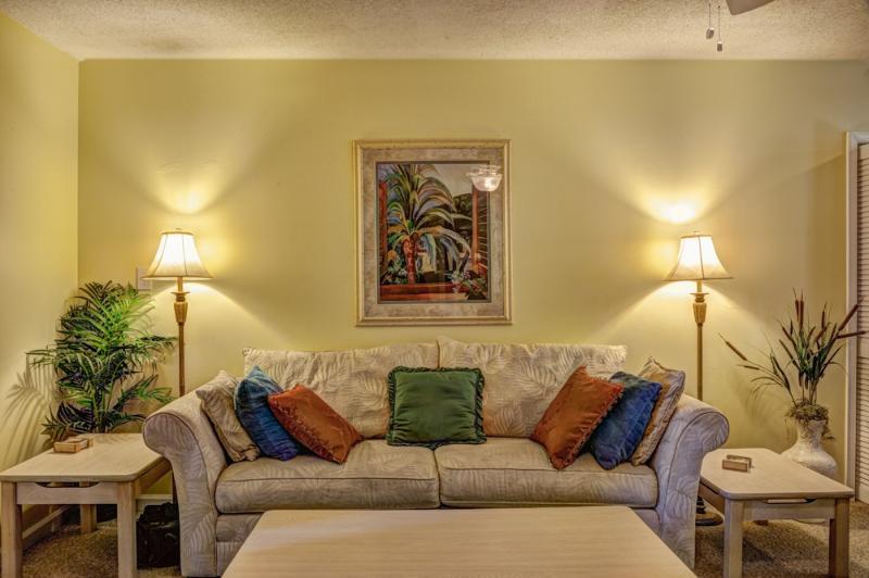 Living room sofa, facing flat screen TV with Blu-Ray player