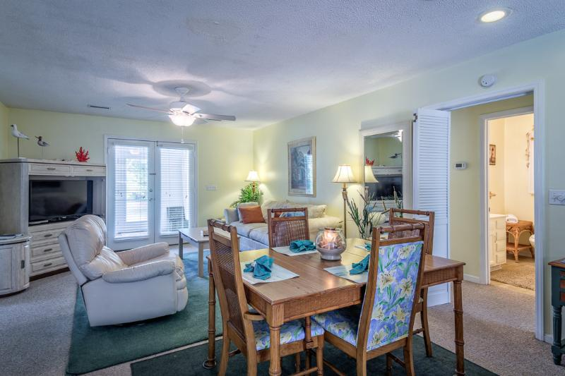 Wide view of dining area for family meals