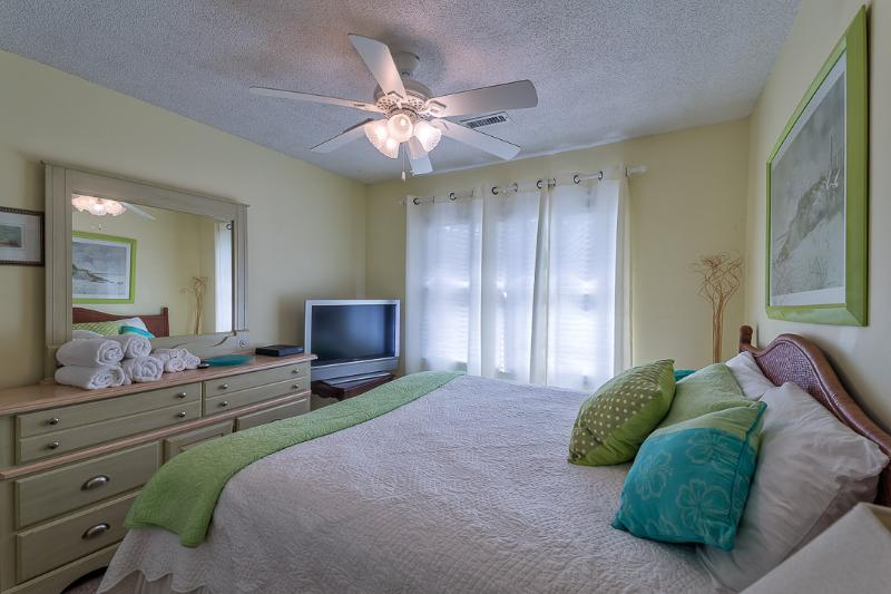 Master bedroom with ceiling fan, flat screen tv and DVD player