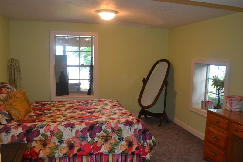 Lower Level Bedroom with View of Lake - Queen Bed ~