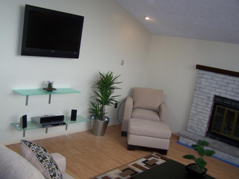Home entertainment system and indoor fireplace