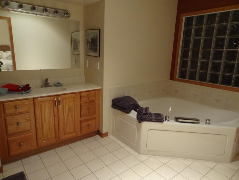Relax in the jetted soaking tub!