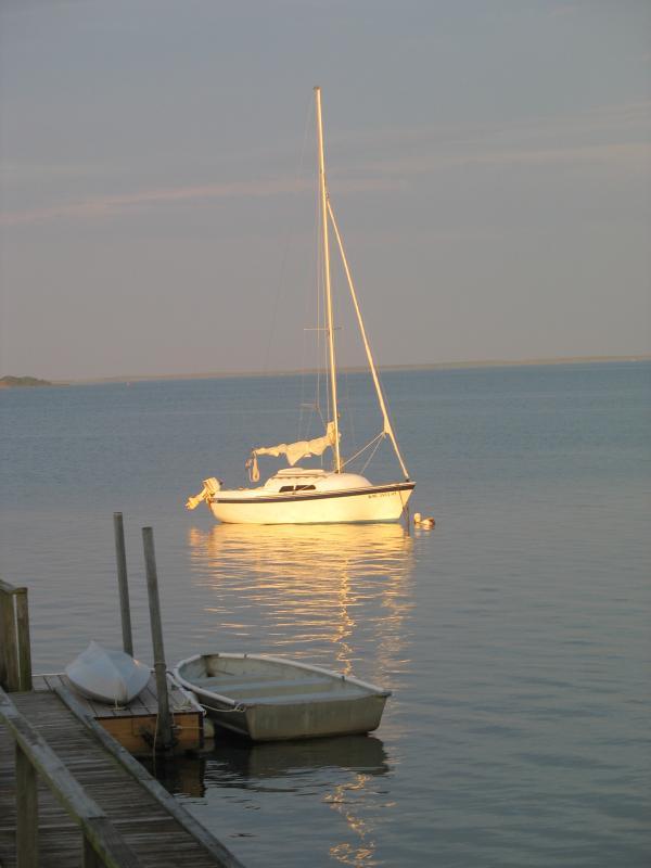 Sunset illuminates a sailboat on its mooring.